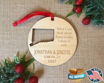 Personalized Connecticut Ornaments *** Home Ornament *** Family Gift *** Stocking Stuffer *** Christmas Holiday Ornament ***