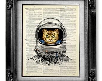 Whimsical CAT art Print Cat PRINT Cat Decor Cat PAINTING Cat Illustration Cat Wall Art Cat Drawing Cat Wall Decor Artwork Poster, Space Cat