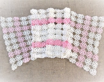 """Vintage Crochet Lace Table Runner Pink White Hand Crocheted Dresser Scarf Antique Linens Shabby Cottage Decor 53"""" inches Vintage Linens"""
