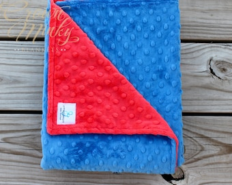 Red and Electric Blue Minky Blanket, Personalized Baby Blanket