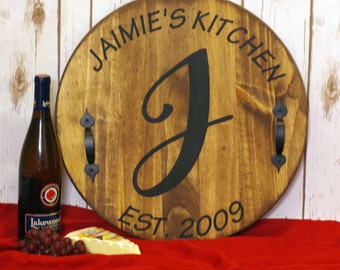 Personalized Serving Tray, Wine Barrel Tray, Personalized Wood Tray, Custom Serving Tray, Rustic Tray, Wedding Gifts, Anniversary Gifts