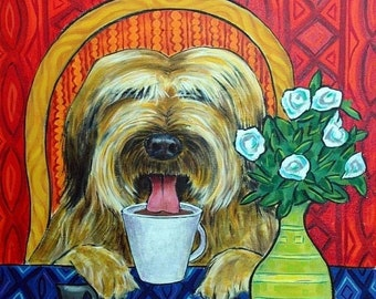 25% off briard art - Briard at the Coffee Shop Dog Art Tile Coaster - briard gifts