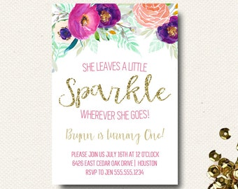 First Birthday Invitation Floral Leaves a Little Sparkle Wherever She Goes Gold