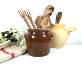 Small glazed stoneware pot, French confit pot, Brown earthenware kitchenware, French vintage, stoneware utensil holder, French country decor