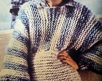Sweater pattern retro vintage, pdf instant download tutorial, winter model hippie 70's style, hand knit DIY RetroWoolCool sweater fashion