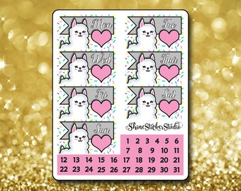 Kawaii Llama Date Cover Stickers - Planner Stickers Erin Condren Life ECLP Stickers Happy Planner Kawaii Llama Stickers