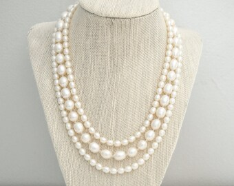 Freshwater Pearl Bridal Necklace, Multi Strand Wedding Necklace, Bridal Jewellery, Wedding Jewellery