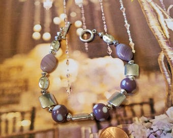 Purple spotted lamp work beads with Tibetan Silver bracelet  almost 8 inches long