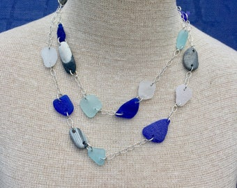 Sea glass jewelry-Beach stones and sea glass necklace