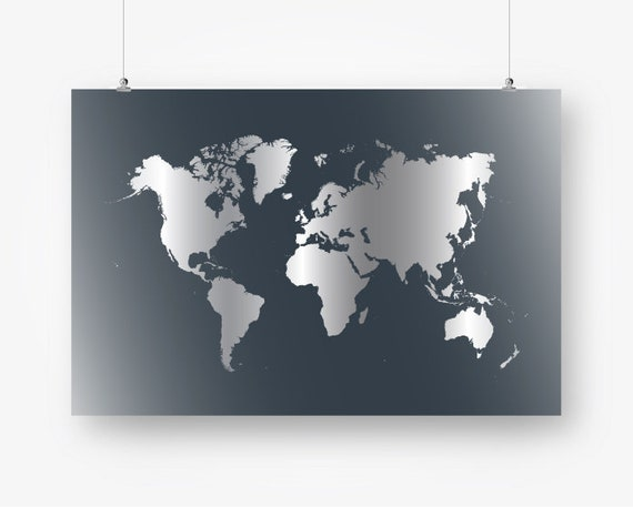 Large world map poster gray download world map wall decor large world map poster gray download world map wall decor neutral world map wall art 24x36 pdf map of the world digital art metallic silver gumiabroncs Images