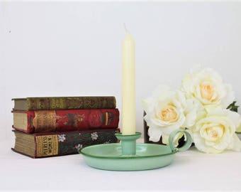 Vintage Green Bedstick/Green Candlestick/1930's Green Bedstick/Candles (Ref1974G)