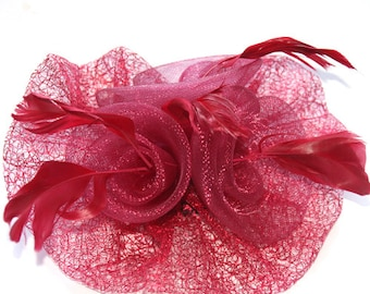 Burgundy  Fascinator attached with clip