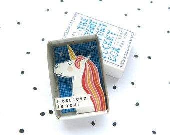Immer sein eine Einhorn - The Instant Komfort Pocket Box -, die ich an dich glaube! -aufzumuntern und Trost-Kasten - Regenbogen - Nachricht in einer Box