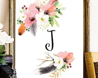 Floral Monogram Print, Monogram Wall Print, Personalized Monogram, Monogram Print, Custom Monogram, Floral Monogram, Printable Monogram