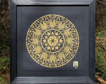 "Mandala Art Print FRAMED Signed Limited Edition Gold On Black Paper ""Diffeomorphism"" Sacred Geometry Decoration Poster"