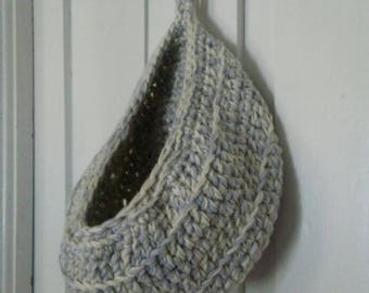 New Crocheted Doorknob Basket Storage Pod Organizer Ecru Grey Toys Scarves Socks Washcloths Bedroom Bathroom Living Room Custom Color Option