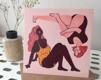 Square Ladies Postcard, Illustrated Postcard