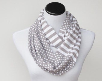 Gray scarf Infinity scarf gray white polka dots and stripes scarf circle scarf loop scarf, gift idea for her - gift for women and teen girls