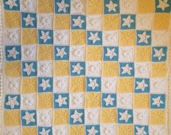 Crochet Little Stars Baby Blanket - Blue Yellow White