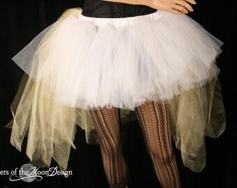 Hi low tulle tutu skirt petticaot bustle white gold glimmer bridal wedding bachelorette costume dance wear hi low  -All Sizes - SOTMD