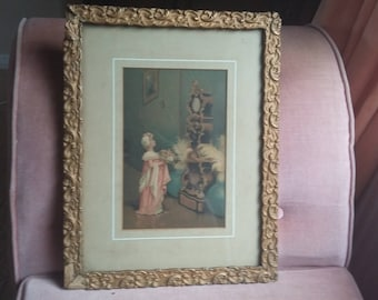 Vintage Print of Girl and Clock in a gilt Frame