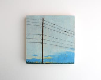 Birds on a Wire Painting - 6 x 6