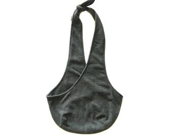 Gray Fleece Dog Sling/ Solid Pet Pouch/ Dog Carrier: Dark Heathered Gray