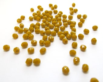 Goldenrod Yellow Faceted Czech Glass Beads, 3mm - 100 pieces