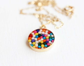Resin Sprinkles Necklace, Gold Candy Necklace, Gold Resin Necklace, Colorful Resin Necklace, Round Charm Necklace, Gold Charm Necklace