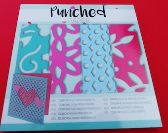perforated paper punched paper 24 sheets 4 motifs designs cute cardmaking scrapbooking 13 x 13 cm Green Pink Blue
