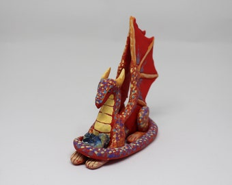 Colourful Dragon Protecting Gemstone, Polymer Clay Sculpture Miniature Collectible