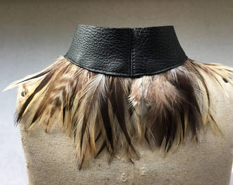 Feather + Soft Leather Choker - NZ Deer Hide and Feather Trim