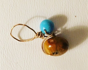 Tiger's Eye & Turquoise on Gold Loc Jewel, Dreadlock Jewel, Loc Jewelry, Dread Jewelry, Dread Bead, Loc Bead, Loc Charm, Dread Schmuck