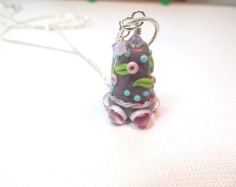 Necklace purple glass art lampwork bead with crystals
