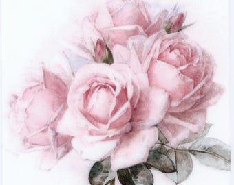 Decoupage Napkins | Vintage Rose Bouquet |Pink Tea Rose Napkins|Decorative Luncheon Napkins|Romantic Napkins|Paper Napkins for Decoupage|
