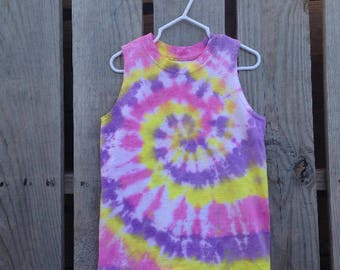 X-Small, Tie Dye Sleeveless Children's Shirt, TDKSspiral2