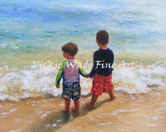 Two Beach Boys Art Print two brothers, beach wall art boys room, little hispanic boys holding hands wall decor, two boys, Vickie Wade Art