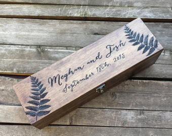 Fern Wooden Wine Box Holder, Wine box ceremony, personalized wine box, first fight box, wedding wine box ceremony, anniversary wine box gift