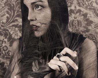 Under A Dark Veil - FREE SHIPPING Fark Art Unusual Portrait Surreal Photo Print Damask Goth Brown Red Bird Skull Silver Ring Net Creepy