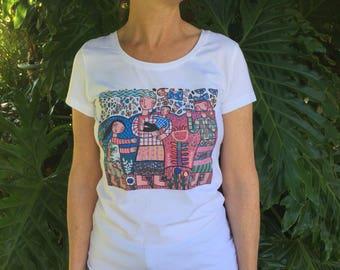 Ladies white T-Shirt, Womens tee, Rebecca Cool, Cotton tee, Printed t-shirt, Girlfriend gift, Mothers Day, Australian Design, Ladies Tops