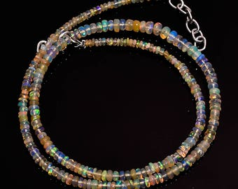 Natural Ethiopian Opal Smooth Roundel Beads, Multi Flash Ethiopian Opal, Fire Opal, Round Beads, Natural Gemstone, 2x2 to 4x4 MM, 15 INCH