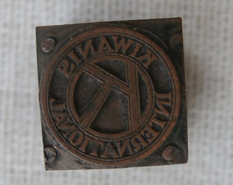Vintage Kiwanis International Printers Block Letterpress Metal on Wood Collectible Craft Supply Shadowbox Decor