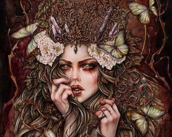 Forest Keeper Art Print 8x10 Inches Fantasy Goth Art by Enys Guerrero