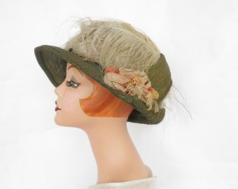 1920s cloche hat, vintage straw and feathers, woman's  XL