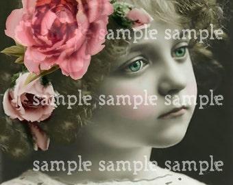 Téléchargement numérique Télécharger Collage feuille Scan belle petite fille avec des fleurs Paris Vintage princesse Antique FRANÇAIS carte postale Art Print