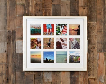 "19.25 x 16.5"" Picture Frame in 1x1 Outside Cove Style w/ Mat Windows for (12) 4x4 Photos in COLOR of YOUR CHOICE - Collage Frame 4x4 Photos"