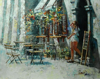 Original oil painting on canvas - board by Roger Pan, ''Kazimierz Cafe'', 8x10inch
