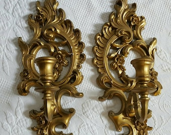 Vintage set of two Syroco Wall Scones candle holder