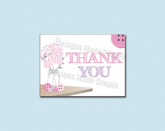 Cute as a Button Baby Shower Thank You - Printable