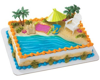 Beach 6 piece Cake Kit Cake Toppers Decorations Party Umbrella Palm Tree Chair Pail Castle